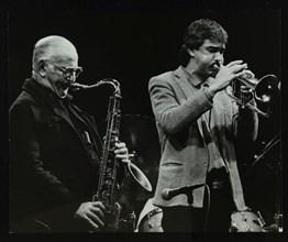 The Ronnie Scott Quintet at the Forum Theatre, Hatfield, Hertfordshire, 29 November 1985. Ronnie Sco Artist: Denis Williams