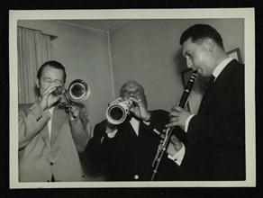 Humphrey Lyttelton, Sidney Bechet and unknown clarinetist, Colston Hall, Bristol, 1956. Artist: Denis Williams