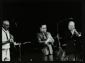 Terry Lightfoot, Peanuts Hucko and Billy Butterfield playing at Potters Bar, Hertfordshire, 1986. Artist: Denis Williams