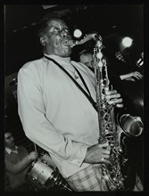 Tenor saxophonist Eddie 'Lockjaw' Davis playing at The Bell, Codicote, Hertfordshire, 12 April 1982. Artist: Denis Williams