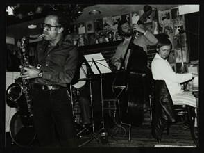Art Themen, Dave Green, and Michael Garrick playing at The Bell, Codicote, Hertfordshire, 1981. Artist: Denis Williams