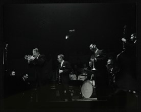 The Eddie Condon All Stars on stage at Colston Hall, Bristol, 1957. Artist: Denis Williams