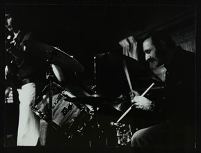 Steve Cook (bass guitar) and Alan Jackson (drums) playing at The Stables, Wavendon, Buckinghamshire. Artist: Denis Williams