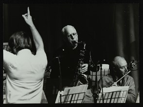 Michael Garrick, Don Rendell and Jimmy Hastings at Berkhamsted Civic Centre, Hertfordshire, 1985. Artist: Denis Williams