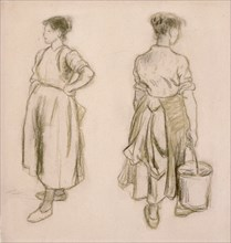 'Two studies of a girl', 1890. Artist: Camille Pissarro.