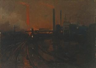 'Steel Works, Cardiff at night', 1893-97. Artist: Lionel Walden