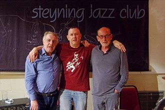 Gary Baldwin, Mike Bradley and Mick Hanson, Steyning Jazz Club, West Sussex, May 2016. Artist: Brian O'Connor.