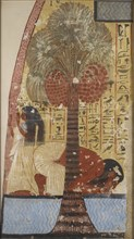 Copy of wall painting from a private tomb 218 of Amennakhte, (I, 1, 317-320), Thebes, 20th century. Artist: Anna (Nina) Macpherson Davies.