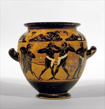 Athenian black-figure stamnos depicting athletes around belly of the vase and a symposium of men and Artist: Michigan Painter.
