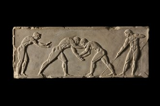 Ball-player base, front side. Part of ball-player base of Endoios. From Athens, c 510 BC. Artist: Endoeus.