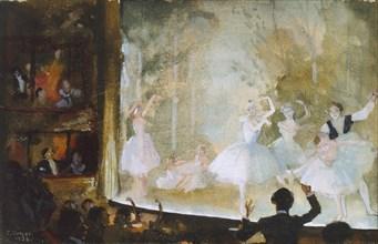 Russian Ballet, Champs-Elysees: Les Sylphides, 1932. Artist: Konstantin Somov.