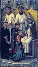 The sacrament of the confirmation', detail of the Crucifixion triptych, work by van der Stock.