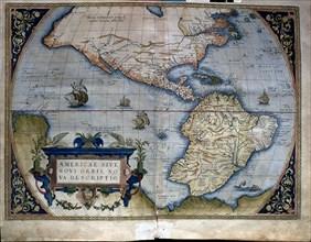 'Theatrum Orbis Terrarum' by Abraham Ortelius, Antwerp, 1574, map of the Americas.