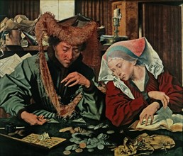'The money changer and his wife', oil painting by Marinus Reymerswaele.