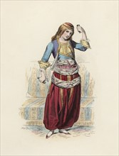 Greek Dancer woman, color engraving 1870.
