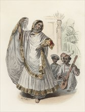 Hindustan dancer woman, in the modern age, color engraving 1870.