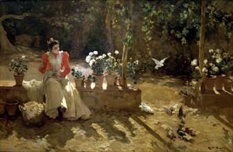 'Girl with pigeons', oil, 1900 Ricardo Brugada.