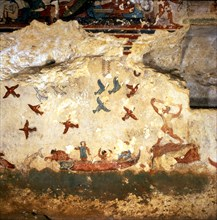 Burial chamber of the necropolis of Tarquinia, mural painting with hunting and fishing scene.