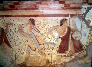 Burial chamber of the necropolis of Tarquinia, mural painting with the representation of two musi?