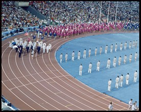 Parade of athletes at the opening ceremony of the 1992 Barcelona Olympic Games.