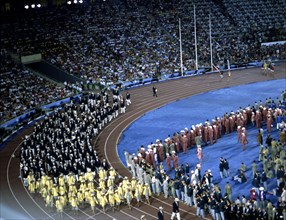 Athletes parade during the opening ceremony of the 1992 Barcelona Olympic Games.