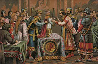 Engagement between the Count of Barcelona Ramon Berenguer IV and Petronilla of Aragon who is 2 ye?