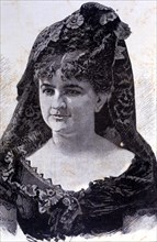 Emilia Pardo Bazán (1851-1921), Galician writer at the age of 30 years, engraving.