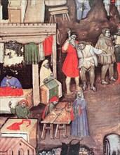 Merchants of fabrics and textiles in a market, Miniature in the 'Statuto delle Corporazione dei M?