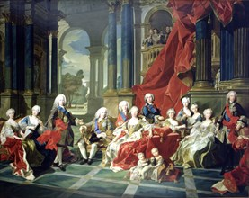 The family of Felipe V, oil painting, appear with the king, his second wife Elizabeth Farnese and?