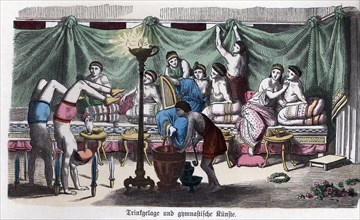 Ancient History. Greece. Scene of a banquet and gymnastic games. German engraving, 1865.