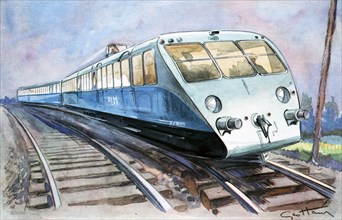 High-speed train, the solid and lightweight Bugatti PLM travelling to Vichy, drawing in L'Illustr?