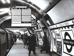 Walk in Picadilly Circus Station, London Underground Railroad, 1950.