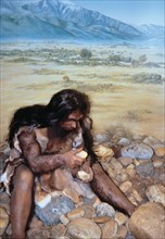 Diorama 'Talteüll-Tautavel Man' -young adult- manufacturing stone tools, earlier interpreted as a?