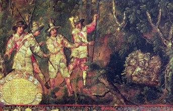 'Are four Spanish treasure and do not take' Conquest of Mexico, detail of a Painting. of 1698 co?