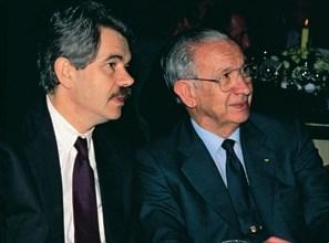 Pasqual Maragall and Juan Antonio Samaranch, major of Barcelona and president of the IOC respecti?