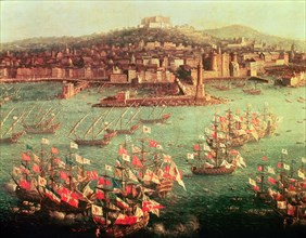 Fleet of King Charles III of Spain, in front of the City of Naples (6 Oct. 1759).