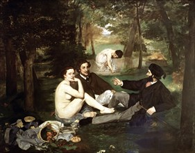 'Breakfast on the Grass', 1863, oil Painting by Edouard Manet.