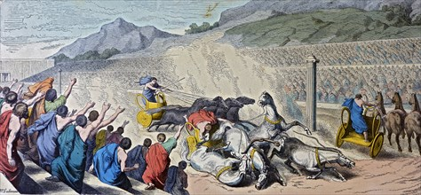 Games in Greece, chariot race, engraving, 1862.