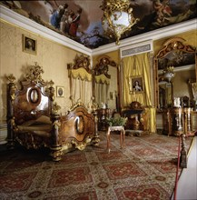 Detail of Elizabeth II bedroom (1830 - 1904) at the Royal Palace of Aranjuez.