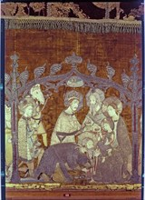 Adoration of the Magi, embroidered on a cloth of gold and silk.
