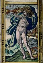 'Fire', coloured engraving from the book 'Le Theatre du monde' or 'Nouvel Atlas', 1645, created,?