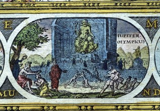 'Temple of Jupiter', coloured engraving from the book 'Le Theatre du monde' or 'Nouvel Atlas', 1?