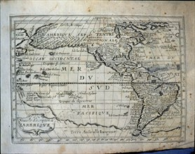 Map of the Americas', French engraving of 1667.
