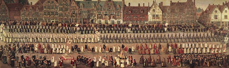 'Festival of Ommeganck or Parrot, Brussels: procession of Our Lady of Sablon', by Denis van Alsl?