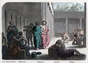 Ancient History. Greece. Platonists, Epicureans and Cynics: athletic competitions in the gym. Ger?