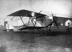 England. Magenta SVA biplane parked on an airfield, 1918.