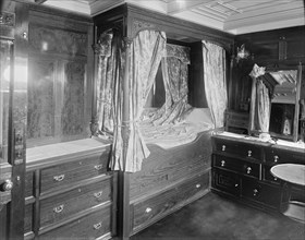 Interior of cabin on steam yacht 'Venetia', 1920. Creator: Kirk & Sons of Cowes.