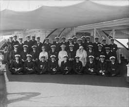 King George V and Queen Mary on board 'HMY Victoria and Albert', 1924. Creator: Kirk & Sons of Cowes.