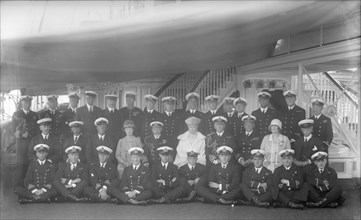 King George V, Queen Mary on board 'HMY Victoria and Albert', 1927. Creator: Kirk & Sons of Cowes.