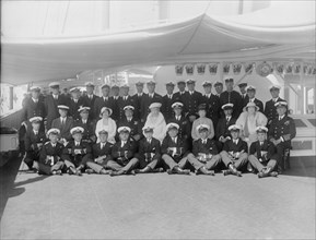 King George V and Queen Mary on board 'HMY Victoria and Albert', 1933.  Creator: Kirk & Sons of Cowes.